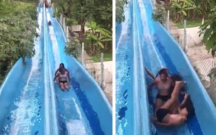 Τρομακτικό ατύχημα με σύγκρουση κοριτσιών σε νεροτσουλήθρες (Βίντεο)