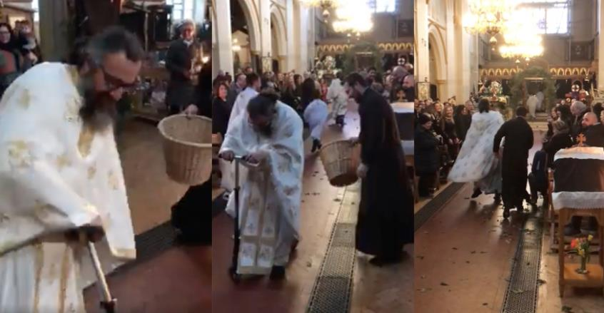 """Ιερέας με πατίνι είπε το """"Ανάστα ο Θεός""""! (video)"""