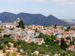 Panoramic view of Lefkara famous touristic village in Cyprus
