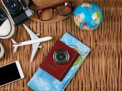 Passport Travel Document Photo Camera Sunglasses Globe Map, Top