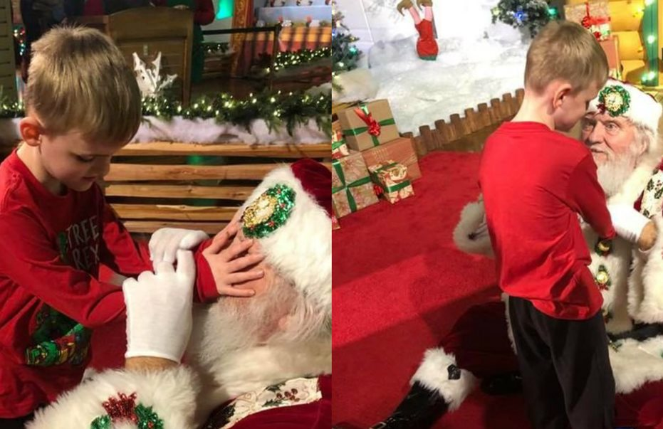 Συγκινεί 6χρονο τυφλό αγοράκι. Συναντά για πρώτη φορά τον Άγιο Βασίλη