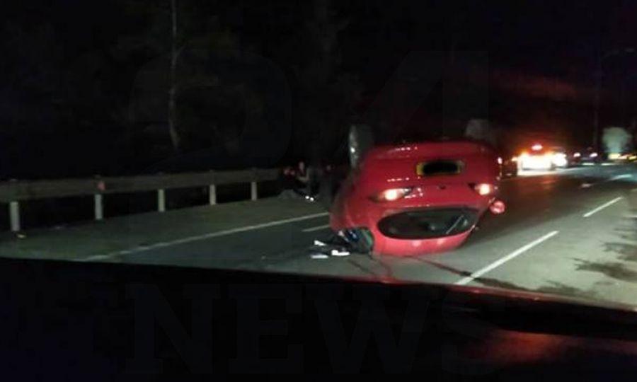 ΈΚΤΑΚΤΟ – Επ. Λάρνακας : Όχημα αναποδογυρίστηκε στον αυτοκινητόδρομο
