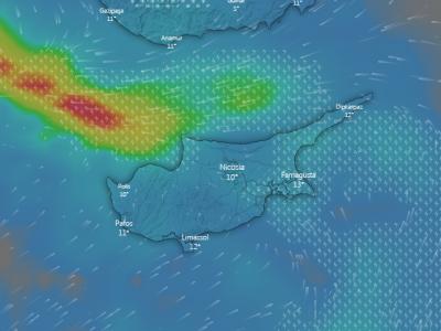Δείτε το χαμηλό βαρομετρικό να περικυκλώνει την Κύπρο (vid)
