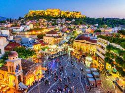 Athens, Greece –  Monastiraki Square and Acropolis